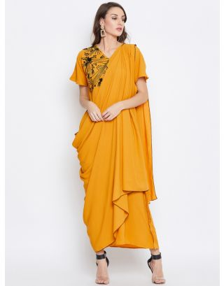 Mustard Sequins Embroidered Draped Kaftan