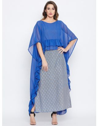 Blue and Grey Floral Fusion Kaftan