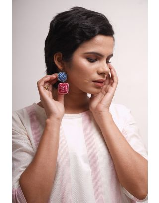 Sky Blue Kantha Earrings