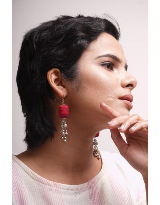 Red Fabric Earrings