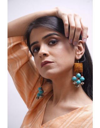 Mustard Kantha Earrings