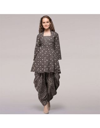 Brown Pleated Dabu printed Cotton Tunic with Dhoti Pants