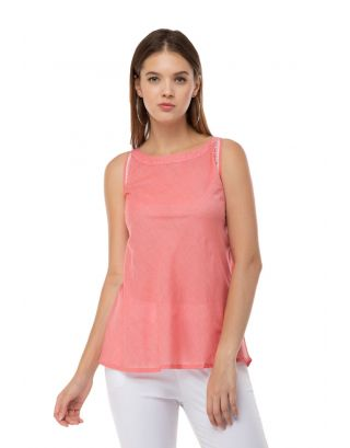 Coral Sleevless Embroidered top