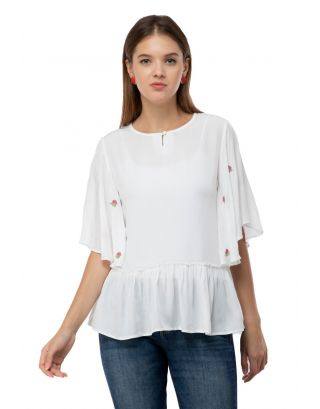 White Frill Sleeves Embroidered Top