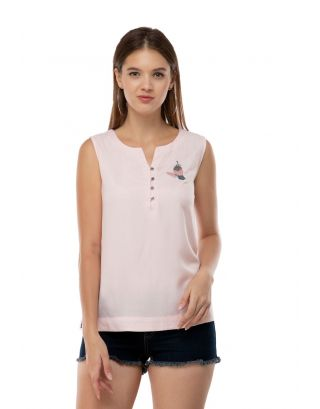 Pink Bird Embroidered Top