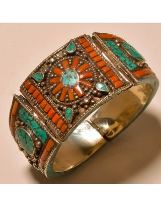Silver Turquoise Coral Cuff Bangle