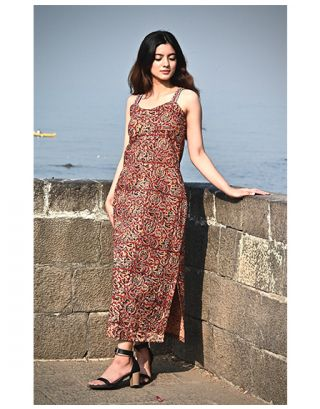 Red Kalamkari Slip Dress