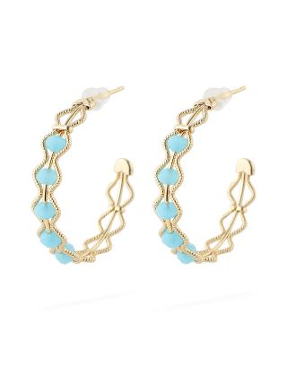 Gold Plated Turqoise Hoop Earrings