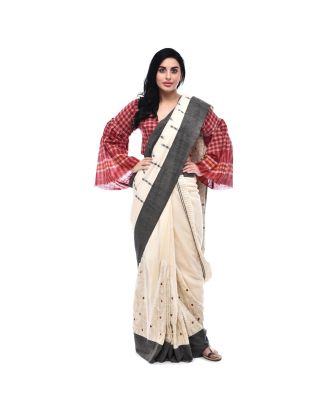Cream and Black Handloom Saree
