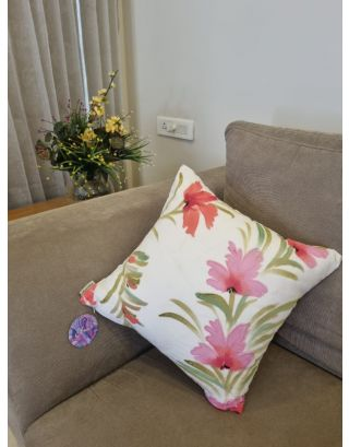 White & Pink Cushion Cover