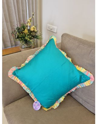 Green frilled Cushion Cover
