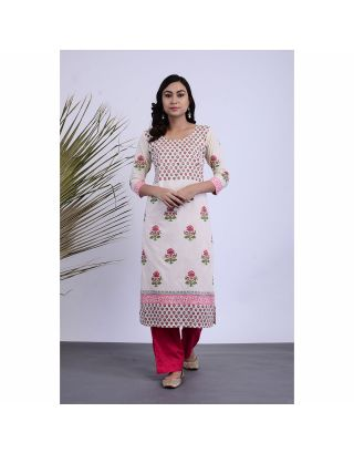 White and Pink Kurta Palazzo Set