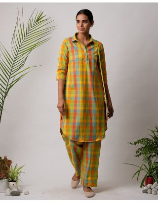 Multicolor Checkered Collar Kurta