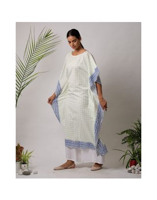 White and Blue Kaftan and Pants Set