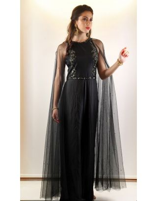 Black Embellished Jumpsuit with Attached Cape