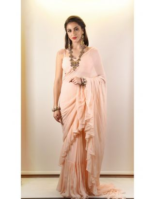 Peach Drapped Sari with Blouse