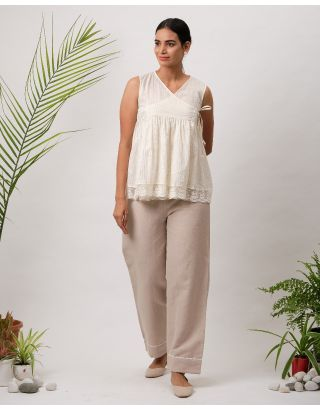 White Striped Angarkha Top