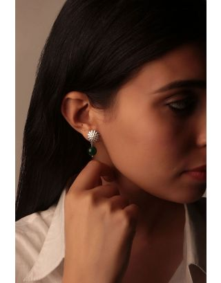 Turqoise Floral Silver Drop Earrings