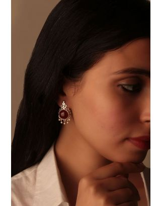 Red Embellished Silver Earrings