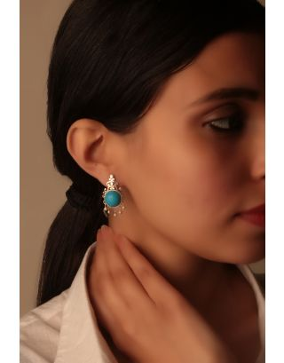 Turquoise Embellished Silver Earrings