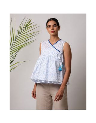 Blue Floral Printed Angrakha Top