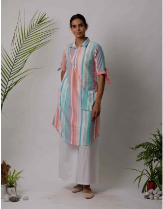 Blue and Pink Collar  Striped Kurta Pants Set