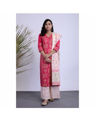Pink Golden Printed Kurta Palazzo Set with Dupatta
