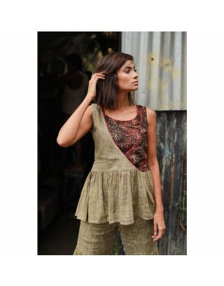 Olive Ajrak Printed Top