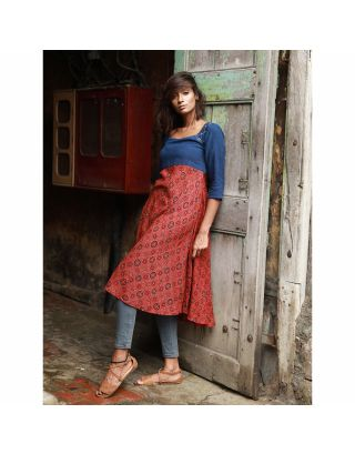 Blue and Red Ajrakh Printed Tunic