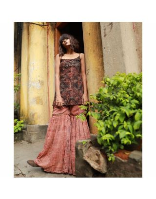 Brown Ajrakh Spaghetti Short Tunic