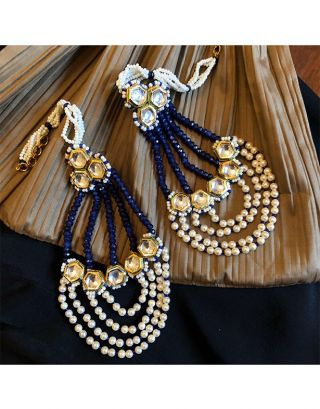 Blue Kundan Pearl Passa Earrings