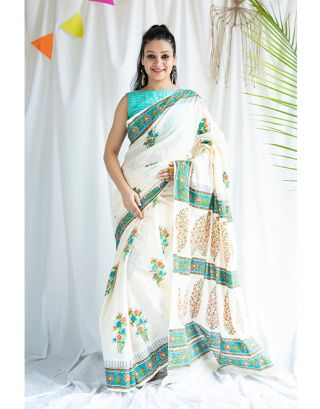 White and Blue Printed Cotton Saree