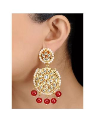 Red Kundan Chandbali