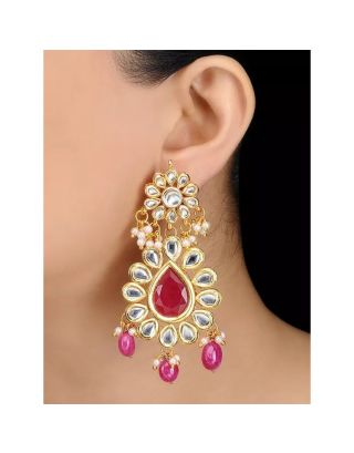 Ruby Floral Kundan Earrings