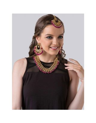 Ruby Kundan Necklace Set with Mangtika