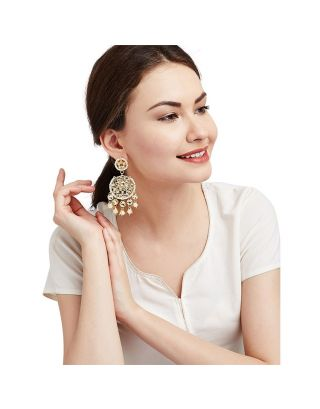 Kundan Earrings with White Pearls