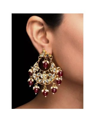 Ruby beads Kundan Earrnings