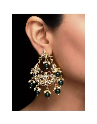 Green Beaded Kundan Earrnings
