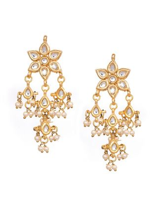 Kundan Pearl Flower Earrings