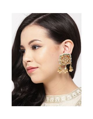 Square Kundan Pearl Drop Earrings