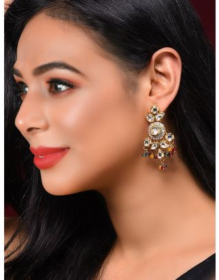 Kundan inspired multicolored earrings