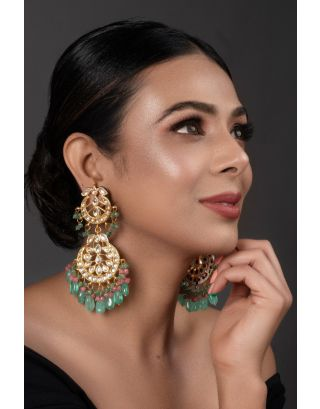 Handcrafted Kundan inspired earrings