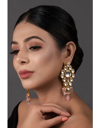 Pink Green Gold Tone Kundan Earrings