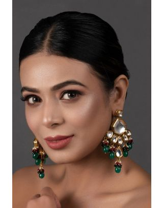 Emerald Ruby Gold Tone Kundan Earrings