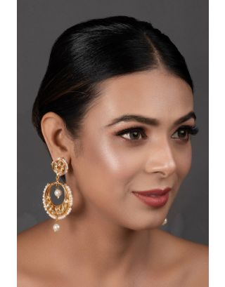Pearl Beaded Kundan Drop Earrings