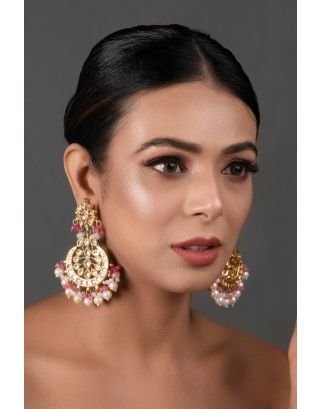 Pearl & Pink Kundan Earrings