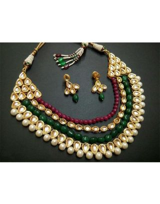 Ruby Emerald Kundan Necklace Set
