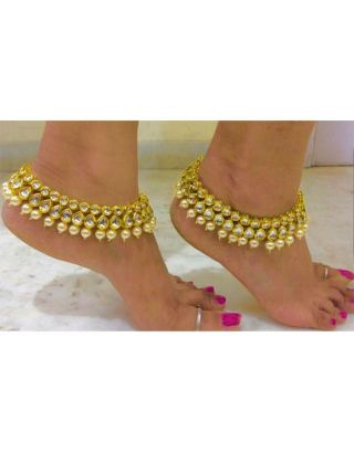 Kundan and Pearl Anklets