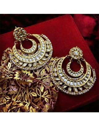 Golden and Pearl Chandbali