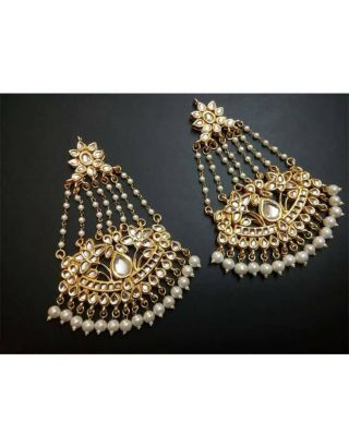 Kundan and Pearl Jhumar Earrings